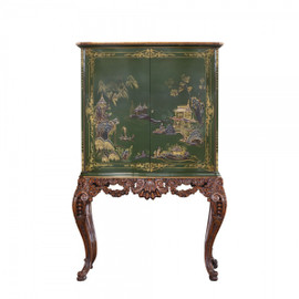 #Chinoiserie Chinese Style Carved - 67 Inch Handcrafted Reproduction Bar Cabinet - Green - RG and Gilt Luxurie Furniture Finish | 6449