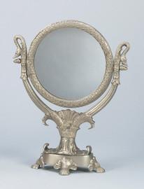 "Elegant Empress Josephine - 19th Century Reproduction French Empire Swan Design - Vanity, Dressing Table Mirror - Pewter Finish, 16""t x 12""w x 1""d, 6452"