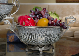 Lyvrich Modern d'Elegance, Compote Fruit Bowl, Centerpiece Dish, Tile and Crushed Mirror Tiles, Silvered d'or Brass Ormolu Trim, 18.12w X 12.02d X 8.86t, 6453
