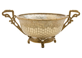 Lyvrich Modern d'Elegance, Compote Fruit Bowl, Centerpiece Dish, Tile and Crushed Mirror Tiles, Gilt d'or Brass Ormolu Trim, 18.12w X 12.02d X 8.86t, 6454