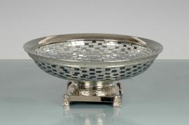 Lyvrich Modern d'Elegance, Fruit Bowl, Centerpiece Dish, Rectangular and Irregular Mirror Tiles, Silvered d'or Brass Ormolu Trim, 13.00w X 13.00d X 5.12t, 6455