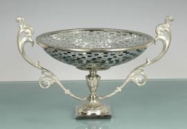 Lyvrich Modern d'Elegance, Compote Fruit Bowl, Centerpiece Dish, Rectangular and Irregular Mirror Tiles, Silvered d'or Brass Ormolu Trim, 18.60w X 11.94d X 14.11t, 6456