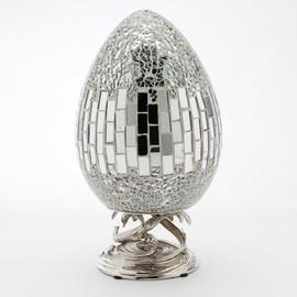 Lyvrich Modern d'Elegance, Sculptural Deco Egg, Centerpiece Egg, Tile and Crushed Mirror Tiles, Silvered d'or Brass Ormolu Trim, 5.91w X 5.91d X 10.84t, 6457