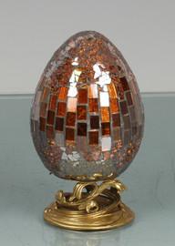 Lyvrich Modern d'Elegance, Sculptural Deco Egg, Centerpiece Egg, Tile and Crushed Mirror Tiles, Gilt d'or Brass Ormolu Trim, 4.73w X 4.73d X 7.96t, 6458