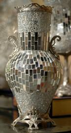 Lyvrich Modern d'Elegance, Handmade Flower Vase, Sparkle Centerpiece Jardinere, Tile and Crushed Mirror Tiles, Silvered d'or Brass Ormolu Trim, 7.68w X 7.68d X 16.15t, 6459