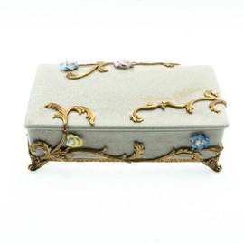 Lyvrich Objet d'Art | Trinket, Display Box | Raised Porcelain Flowers and Gilded Dior Ormolu Trim, | 11.82L X 8.08d X 4.14t | 6461
