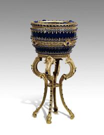 ***Lyvrich Objet d'Art   Extraordinary Handmade Flower Bowl, Planter   Cabochon and Bead Decoration, Gilded Dior Ormolu Trim,   16.5 diameter X 31.29t   6462