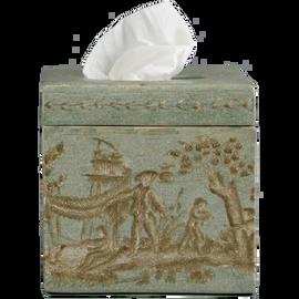 """***Celadon Toile   Boutique Tissue Box Cover,   5.75""""t X 5.75""""w X 5.75""""d   6465"""