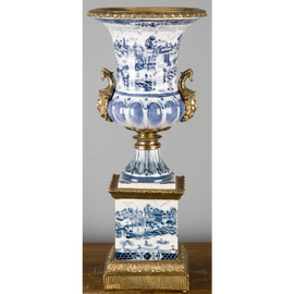 "***Blue & White Willow | Trophy Cup on Plinth, Centerpiece Vase | Gilded Dior Ormolu Trim, | 8""w X 8""d X 20""t 
