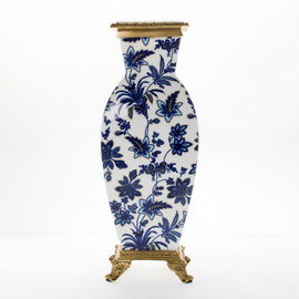 "***Lyvrich Objet d'Art | Flower Vase Centerpiece | Blue and White Flora with Soft Gold, | Porcelain with Gilded Dior Ormolu Trim, | 18.91""t X 7.41""w X 7.41""d | 6470"