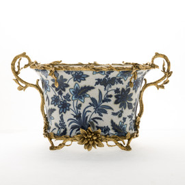 """***Lyvrich Objet d'Art   Handmade Flower Pot, Statement Planter Centerpiece   Blue and White Flora with Soft Gold,   Porcelain with Organic Branch, Twig and Leaf Motif, Gilded Dior Ormolu Trim,   9.73""""t X 16.94""""w X 9.65""""d   6471"""