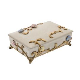 Lyvrich Objet d'Art | Trinket, Display Box | Raised Porcelain Flowers and Gilded Dior Ormolu Trim, | 11.82L X 8.08d X 4.14t | 6472