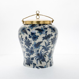 "***Lyvrich Objet d'Art | Handmade Ginger Jar, Statement Urn Centerpiece, | Blue and White Flora with Soft Gold, | Porcelain with Gilded Dior Ormolu Trim, | Round, 13""t X 9.65""w X 9.65""d 