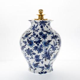 "Lyvrich Objet d'Art   Handmade Ginger Jar, Statement Urn Centerpiece,   Blue and White Flora with Soft Gold,   Bone China with Gilded Dior Ormolu Trim,   Round, 16.55""t X 11.03""w X 11.03""d   6475"