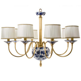 """Lyvrich Objet d'Art   Handmade, 6 Light, Breakfast   Dining Chandelier,   Blue and White Flora with Soft Gold,   Bone China with Gilded Dior Ormolu Trim,   28.37""""t X 39.40""""w X 39.40""""d   6476"""