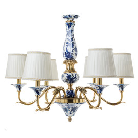 """Lyvrich Objet d'Art   Handmade, 6 Light, Breakfast   Dining Chandelier,   Blue and White Flora with Soft Gold,   Bone China with Gilded Dior Ormolu Trim,   25.41""""t X 28.17""""w X 28.17""""d   6478"""