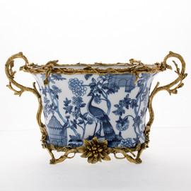 "Lyvrich Objet d'Art | Handmade Flower Pot, Statement Planter Centerpiece | Blue on Pale Blue Birdcage Theme, | Porcelain with Organic Branch, Twig and Leaf Motif, Gilded Dior Ormolu Trim, | 9.73""t X 16.94""w X 9.65""d | 6481"