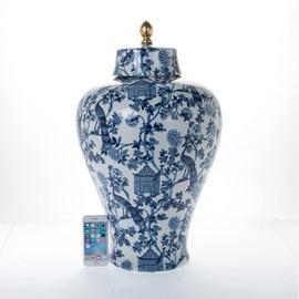 "Lyvrich Objet d'Art | Handmade Covered Jar Centerpiece | Blue on Pale Blue Birdcage Theme, | Porcelain with Gilded Dior Ormolu Trim, | 24.55""t X 15""w X 15""d | 6484"