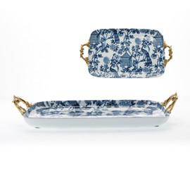 "Lyvrich Objet d'Art | Handmade Tray, Display Centerpiece | Blue on Pale Blue Birdcage Theme, | Porcelain with Gilded Dior Ormolu Trim, | 2.75""t X 19.5""L X 11""d | 6486"