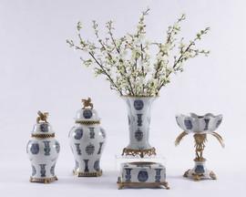 "***Lyvrich   Handmade Porcelain with Gilded Dior Ormolu Trim,   0.0""t X 0.0""L X 0.0""d   6505"