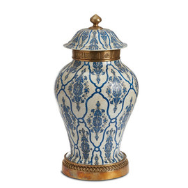 "***Lyvrich Objet d'Art | Handmade Covered Jar, Centerpiece Urn | Blue and White Brocade, | Porcelain with Gilded Dior Ormolu Trim, | 21.65""t X 12""w X 12""d 