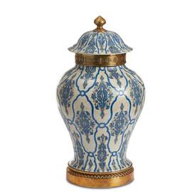 "Lyvrich Objet d'Art | Handmade Covered Jar, Centerpiece Urn | Blue and White Brocade, | Porcelain with Gilded Dior Ormolu Trim, | 18.5""t X 10.25""w X 10.25""d | 6512"