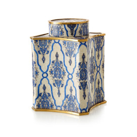 "***Lyvrich Objet d'Art | Handmade Covered Jar, Centerpiece Urn | Blue and White Brocade, | Porcelain with Gilded Dior Ormolu Trim, | 11.25""t X 7.75""w X 7.75""d 