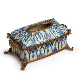 "Lyvrich Objet d'Art | Handmade Tissuebox, Decorative Centerpiece | Blue and White Brocade, | Porcelain with Gilded Dior Ormolu Trim, | 5.11""t X 10.82""L X 6.75""d | 6514"