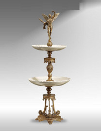 "***A Lyvrich Objet d'Art | Handmade Tiered Compote, Fruit Bowl | White and Gold | Porcelain with Gilded Dior Ormolu Trim, | 29.92""t X 7.5""w X 7.5""d 