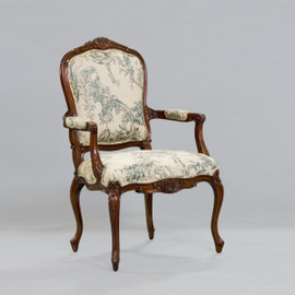 #de Pompadour French Rococo Period Louis XV - 44.5 Inch Handcrafted Reproduction Versailles Dining | Accent | Armchair Fauteuil - Toile Upholstery 069 - Distressed Walnut Wood Luxurie Furniture Finish NWND