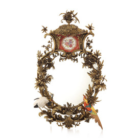 "Lyvrich Objet d'Art, Fabulous Handmade Mirror, Heron, Birds, Branch, Polychrome Flower,, Gilded Dior Ormolu with Porcelain Trim,, 32.50""t X 20.50""w X 5.50""d, 6524"