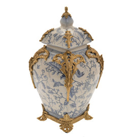 "***Lyvrich Objet d'Art | Handmade Covered Jar, Centerpiece Urn | Blue and White Natural Simplicity, | Porcelain with Gilded Dior Ormolu Trim, | 13.99""t X 8.67""w X 8.67""d 