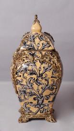 "Lyvrich Objet d'Art | Handmade Covered Jar, Centerpiece Urn | Unspecified Pattern, | Porcelain with Gilded Dior Ormolu Trim, | 13.99""t X 8.67""w X 8.67""d | 6529"