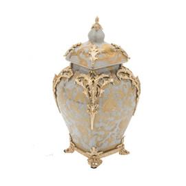 "***Lyvrich Objet d'Art   Handmade Covered Jar, Centerpiece Urn   Crackle Lotus Scroll Arabesque,   Porcelain with Gilded Dior Ormolu Trim,   13.99""t X 8.67""w X 8.67""d   6531"
