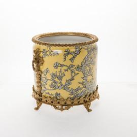 "***Lyvrich Objet d'Art   Handmade Flower Pot, Statement Planter Centerpiece   Abstract Chinoiserie, Gold & Silver,   Porcelain with Gilded Dior Ormolu Trim,   10""t X 11""w X 11""d   6532"