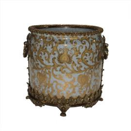 "***Lyvrich Objet d'Art   Handmade Flower Pot, Statement Planter Centerpiece   Crackle Lotus Scroll Arabesque,   Porcelain with Gilded Dior Ormolu Trim,   10""t X 11""w X 11""d   6533"