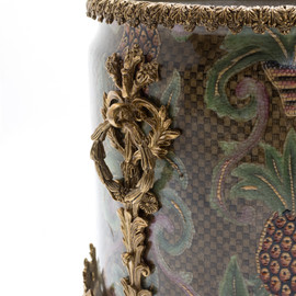 "Lyvrich Objet d'Art | Handmade Flower Pot, Statement Planter Centerpiece | Undulated Pineapple Theme Pattern, | Porcelain with Gilded Dior Ormolu Trim, | 10""t X 11""w X 11""d | 6534"
