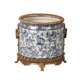 "Lyvrich Objet d'Art | Handmade Flower Pot, Statement Planter Centerpiece | Blue and White Butterfly Pattern, | Porcelain with Gilded Dior Ormolu Trim, | 10""t X 11""w X 11""d | 6536"