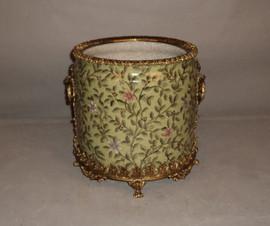"""***Lyvrich Objet d'Art   Handmade Flower Pot, Statement Planter Centerpiece   Pink Flower Climbing Vine,   Porcelain with Gilded Dior Ormolu Trim,   10""""t X 11""""w X 11""""d   6537"""