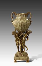 "***Lyvrich Objet d'Art | Handmade Trophy Cup, Centerpiece Vase | Polychrome Ribbed, | Porcelain with Gilded Dior Ormolu Trim, | 19""t X 7.75""w X 6""d | 6543"
