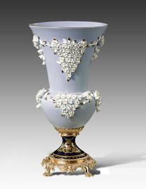 "***Lyvrich | Handmade Fine Porcelain Flowers, Centerpiece Flower Vase, | Porcelain with Gilded Dior Ormolu Trim, | 20""t X 10.75""w X 10.75""d | 6547"