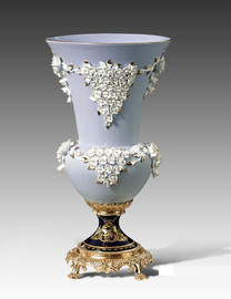 "Lyvrich | Handmade Fine Porcelain Flowers, Centerpiece Flower Vase, | Porcelain with Gilded Dior Ormolu Trim, | 20""t X 10.75""w X 10.75""d | 6547"