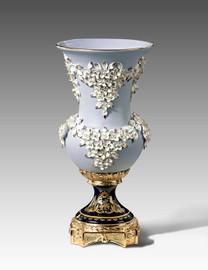 "Lyvrich | Handmade Fine Porcelain Flowers, Centerpiece Flower Vase, | Porcelain with Gilded Dior Ormolu Trim, | 16""t X 7.75""d X 7.75""d | 6570"