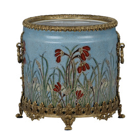 "***Lyvrich Objet d'Art | Handmade Trash Can, Statement Wastebasket | Field of Dreams Pattern, | Porcelain with Gilded Dior Ormolu Trim, | 10""t X 11""w X 11""d 