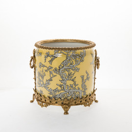 """Lyvrich Objet d'Art   Handmade Trash Can, Statement Wastebasket   Abstract Chinoiserie, Gold & Silver, Pattern,   Porcelain with Gilded Dior Ormolu Trim,   10""""t X 11""""w X 11""""d   6589"""