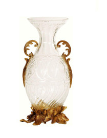 Luxe Life Finely Finished Cut Crystal Glass and Gilt Bronze Ormolu, 17 Inch Tabletop Vase