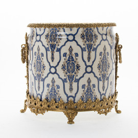 "Lyvrich Objet d'Art   Handmade Trash Can, Statement Wastebasket   Blue and White Brocade, Pattern,   Porcelain with Gilded Dior Ormolu Trim,   10""t X 11""w X 11""d   6590"