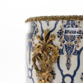 "***Lyvrich Objet d'Art   Handmade Flower Pot, Statement Planter Centerpiece   Blue and White Brocade, Pattern   Porcelain with Gilded Dior Ormolu Trim,   10""t X 11""w X 11""d   6591"
