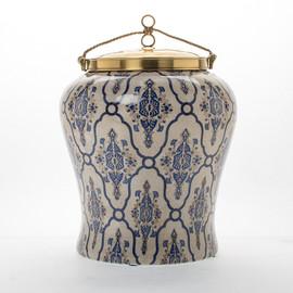 "***Lyvrich | Handmade Ginger Jar, Centerpiece, | Blue and White Brocade, | Ginger Jar, Centerpiece, | Heirloom Quality Porcelain with Gilded Dior Ormolu Trim, | 15.75""t X 11.50""w X 11.50""d | 6595"