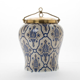 "***Lyvrich | Handmade Ginger Jar, Centerpiece, | Blue and White Brocade, | Ginger Jar, Centerpiece, | Heirloom Quality Porcelain with Gilded Dior Ormolu Trim, | 13.00""t X 9.50""w X 9.50""d 